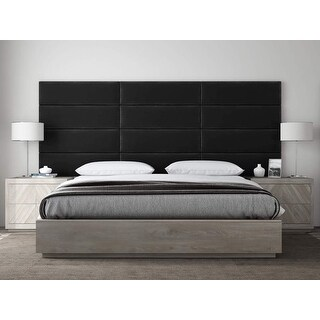 VANT Upholstered Headboards - Accent Wall Panels - Plush Velvet Black - Twin - King Size Headboard - Set of 4 panels