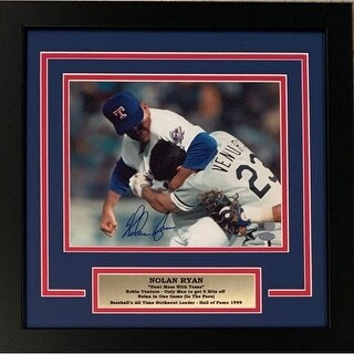 Nolan Ryan Autographed Texas Rangers Signed Framed 8x10 Photo Fight Punching Robin Ventura AI Verif - Black - 5' x 8'
