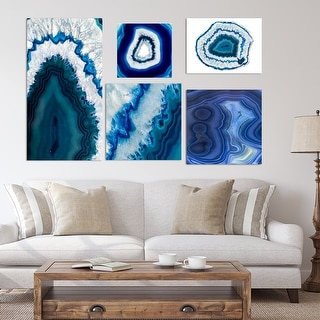 Designart - Geode collection - Traditional Wall Art set of 5 pieces - Blue