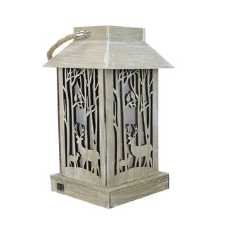 """9.5"""" Lighted Wooden Reindeer with Trees Silhouette Lantern Christmas Decoration"""