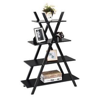 Costway 4-Tier Bookshelf Storage Display Shelves Bookcase Ladder X-Shape Brown/Black