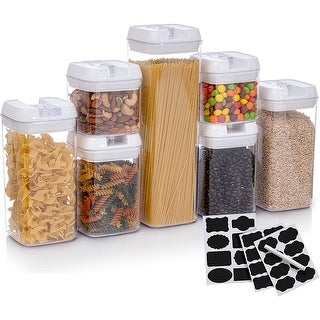Cheer Collection Set of 7 Airtight Food Storage Containers plus Dry Erase Marker and Labels