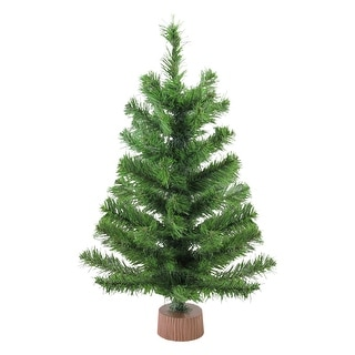 "24"" Mini Pine Medium Artificial Christmas Tree in Faux Wood Base - Unlit - 2 Foot"
