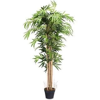 Gymax Artificial Bamboo Silk Tree Planter Green 5 Feet Holiday Decor