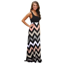 Womens Casual Summer Sleeveless Chevron Tank Beach Maxi Dress Sundress