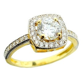 10K Yellow Gold Halo Style Bridal Engagement Ring 9.5mm Wide 10mm Wide