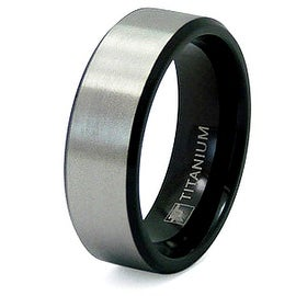 Black and Brushed Titanium Ring (8mm) (Sizes 7-13)