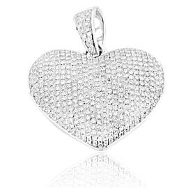 10K White Gold Diamond Heart Pendant 0.40ctw Pave Set Puffed Heart 23mm Tall (i2/i3, i/j)