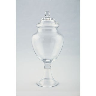 "14"" Clear Hand Blown Glass Jar with Finial Lid"