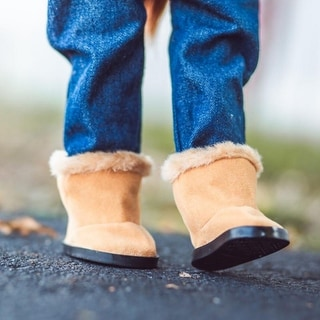 18 Inch Doll Sherpa Winter Realistic Boots with Shoe Box, Fits American Girl Dolls & Clothes