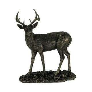 Bronze Finish Standing Deer 8 Point Buck Antlers Wildlife Animal Art Statue - 5.75 X 5 X 2 inches
