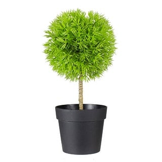 "9.75"" Potted Two-Tone Green Grass Ball Topiary Artificial Christmas Tree- Unlit"