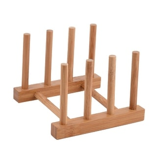 """Kitchen Wood Kitchenware Dish Bowl Plate Holder Organizer Drying Rack Wood Color - 5.5"""" x 5.3"""" x 4""""(L*W*H)"""