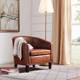 Belleze Upholstered Armchair Faux Leather Nailhead Tub Barrel, Brown - standard