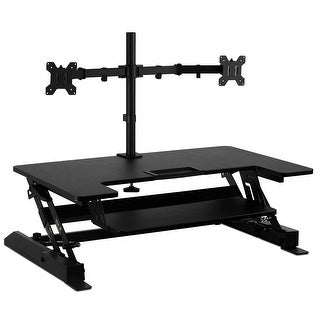 Mount-It! Sit Stand Workstation Standing Desk Converter with Dual Monitor Mount Combo (Sit-Stand & 2 Monitor Mount)