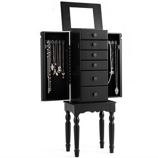 Gymax Jewelry Cabinet Armoire Storage Box Chest Standing Organizer w/ Drawers & Mirror - as pic