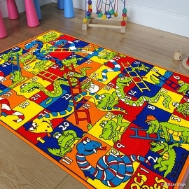 "Allstar Kids / Baby Room Area Rug. Snakes and Crocodiles with Numbers. Playful and Vibrant Colors (3' 3"" x 4' 10"")"