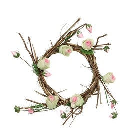 "11"" Brown Cream and Pink Decorative Artificial Spring Floral Twig Wreath - Unlit"