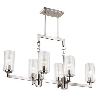Addison 8L LED Nickel Linear Chandelier Island Pendant Light Fixture with Down Light and Switch