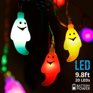 Halloween Copper Wire String Lights, 9.8ft 20 LED Ghost Pendants, Colorful/Blue/Yellow/White, 8 Modes