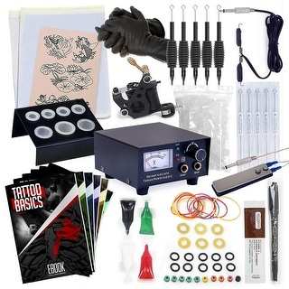 Complete Tattoo Kit w/ Machine, Power Supply, Needles, 4 Inks