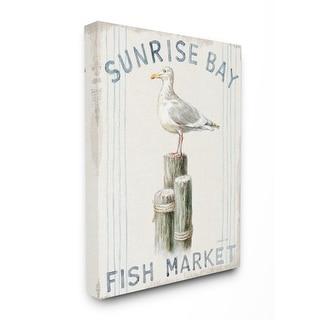 Stupell Industries Fish Market Sea Gull Bird Animal Beach Ocean Design Canvas Wall Art