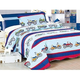 Twin MultiColor Light/Dark Blue Red Motorcycle Bike 2PCS Quilt Bedspread Set Kids Boys Girls Bed Coverlet and Sham