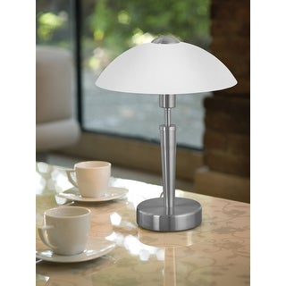 Eglo Solo 1- light Matte Nickel Table Lamp with Frosted Glass