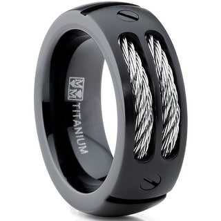Oliveti 8MM Men's Black Titanium Ring Wedding Band with Stainless Steel Cables and Screw Design Sizes 7 to 13