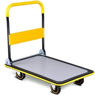 Costway 660lbs Folding Platform Cart Dolly Push Hand Truck Moving Warehouse Foldable - as pic