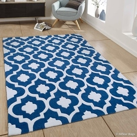 "AllStar Rugs Blue Hand Made Modern Transitional Floral Design Area Rug with Dimensional Hand-Carving Highlights (7' x 10' 2"")"