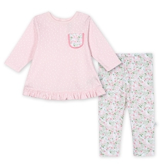 Just Born Baby Girls' 2-Piece Organic Lil' Llama Shirt and Pant Set - Pink