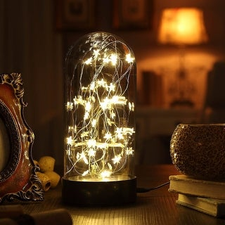 """Decorative Fairy Night Light - 11"""" Dual Power Operated Table/Desk Lamp with Warm White Star String Lights Inside"""