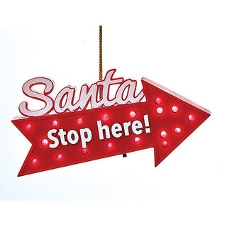 Kurt Adler Santa Stop Here Directional Arrow LED Lights Up Ornament