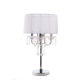 Noble 3 Light Crystal and Chrome Table Lamp Silk Shade White