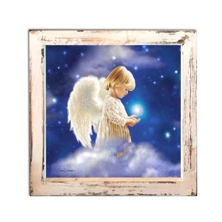 """8"""" White and Blue LED Lighted Angel Star Christmas Square Shadow Box Decoration"""