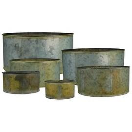 CYS® Corrugated Zinc Metal Galvanized Plant Pot Cylinder Vases, Pots, Planters - Set of 6
