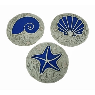 3 Piece Blue Seashell Beach Stepping Stone/Wall Hanging Set - 0.5 X 10 X 10 inches