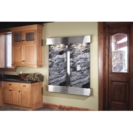 Adagio Cottonwood Falls Fountain w/ Black Spider Marble in Stainless Steel Finis