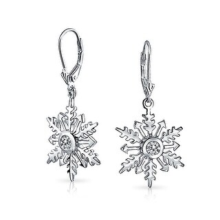 Christmas Snowflake Star Drop Leverback Earrings 925 Sterling Silver