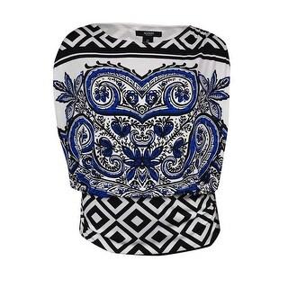 Alfani Women's Modern Paisley Print Blouson Blouse - Blue/White