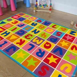 "Allstar Kids / Baby Room Area Rug. Letters and Numbers with Vibrant Colors and Shapes (3' 3"" x 4' 10"")"