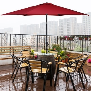 Costway 10FT Patio Umbrella 6 Ribs Market Steel Tilt W/ Crank Outdoor