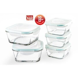 The Glass 10 Piece Square Food Storage Container Set