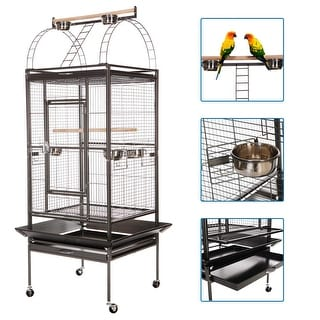 VECELO Bird Cages Large Bird House Rolling Trolley Metal Wheels
