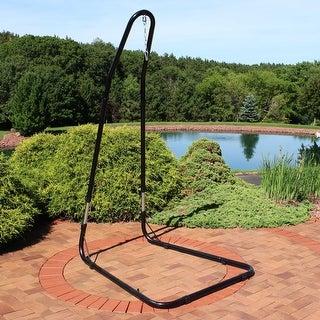 "Sunnydaze Adjustable Heavy-Duty Hammock Chair Stand - Steel - Adjusts up to 93"" - Black Black Onyx"