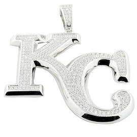 Sterling Silver Kansas City Charm With CZ Pave Set Mens Pendant 59mm Tall KC