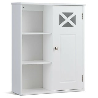 Costway Wall-Mounted Cabinet Bathroom Storage 2-Tier Shelf
