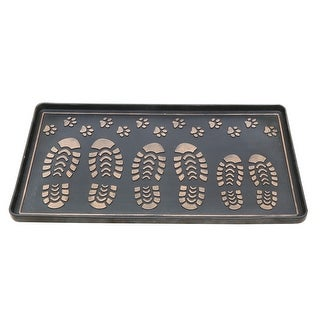 Footprints & Paws Rubber Boot Tray & Shoe Tray, Heavy Duty Footwear, Dog or Cat Bowl Mat Traps Mud, Water and Pet Food Mess