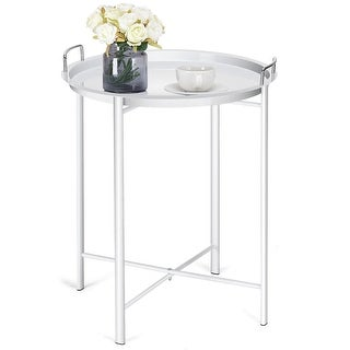 Costway Metal Tray Table Round End Table Sofa SideTable Living Room